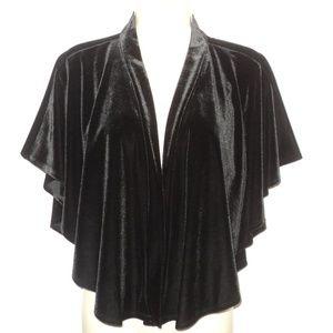 Tiana B. Black Velvet Shawl Wrap Size M Open Front